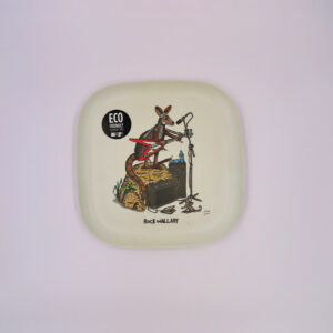 An eco friendly bamboo plate with a whimsical illustration of a rock wallaby on it.