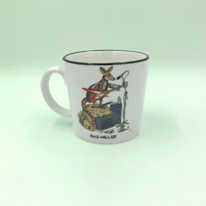 A porcelain mug with a whimsical illustration of a rock wallaby on it.