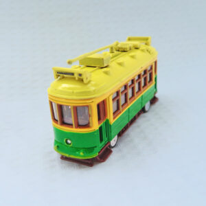 A metal model of a City Circle tram in the green colour.