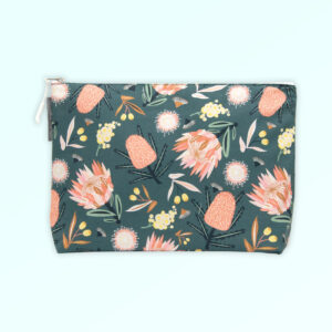 Large cosmetic bag with the Aussie Flora design fabric in khaki