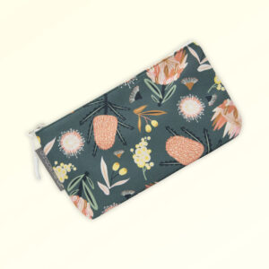 Small cosmetic bag with the Aussie Flora design fabric in khaki