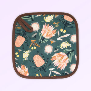 Insulated pot holder with the Aussie Flora design fabric in khaki