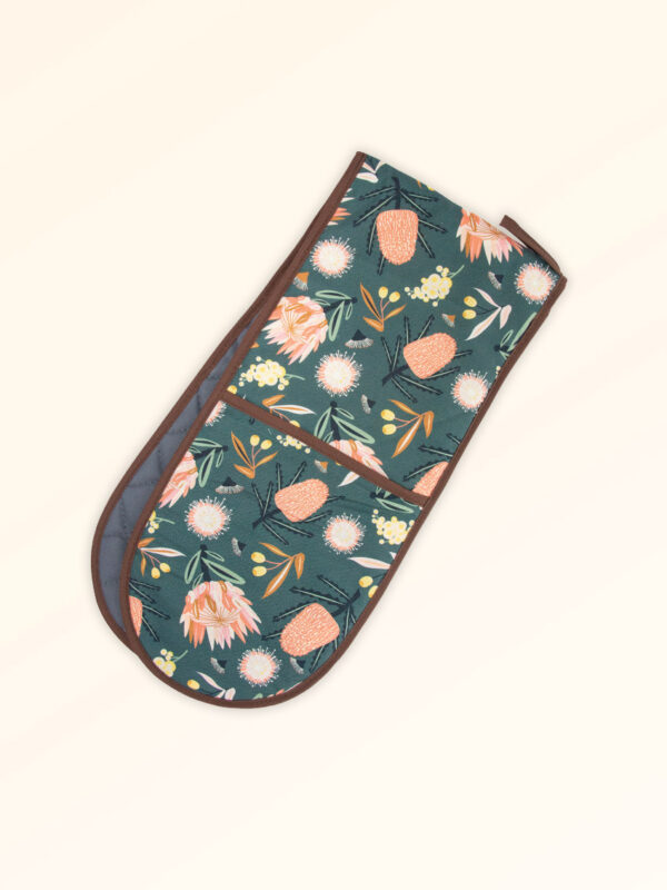 Double oven mitts with the Aussie Flora design fabric in khaki