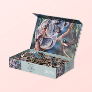 Koala and wren 500 piece puzzle with the box lid open showing the pieces