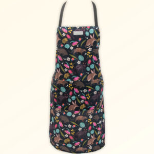 Kitchen apron with a fabric design of Australian nocturnal animals