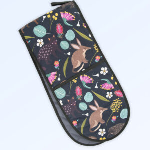 Double oven mitts with the fabric design of Australian nocturnal animals