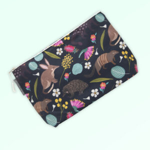 Large cosmetic bag with the fabric design of Australian nocturnal animals