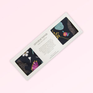 Eye rest pillow in its presentation box with the fabric design of Australian nocturnal animals