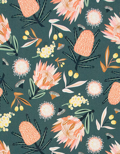 Detail of the Aussie Flora design fabric in khaki