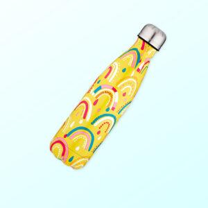 Metal drink bottle with rainbow design