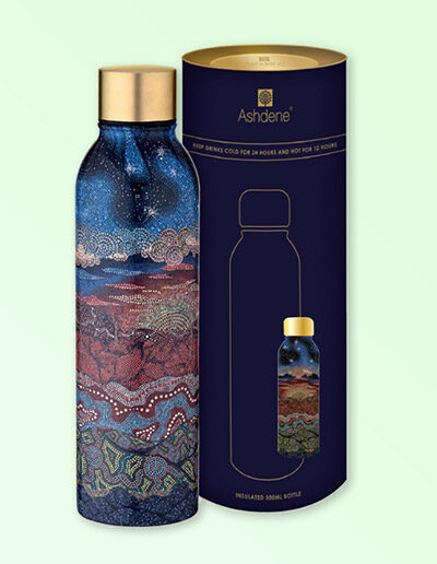 Drink bottle with Under the Southern Cross design sitting next to its cylinder packaging