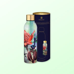 Drink bottle with waratah and blue wren design sitting next to its cylinder packaging