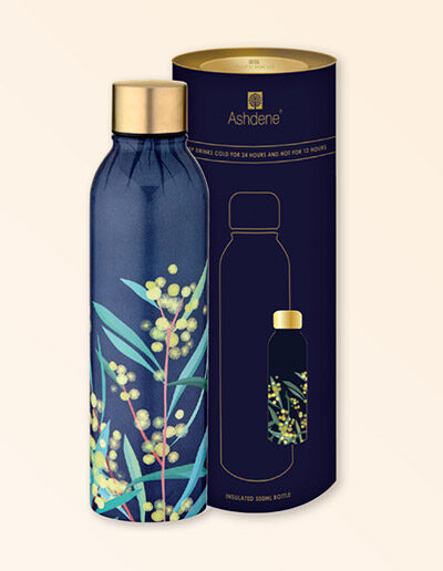 Drink bottle with wattle design sitting next to its cylinder packaging