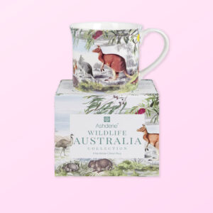Wildlife Australia Grassland design mug sitting on top of its gift box