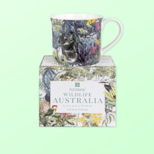 Wildlife Australia mug sitting on top of its gift box