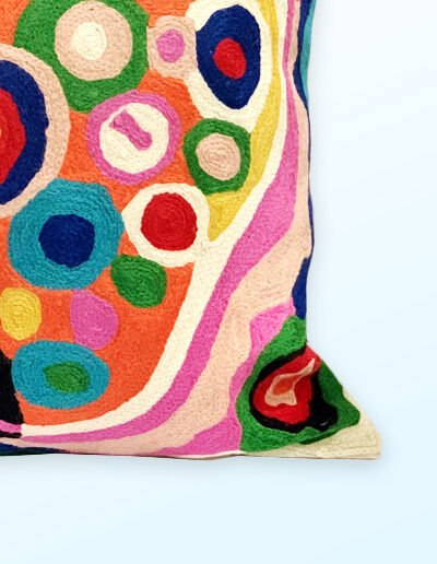 Detail of Better World Arts Wool cushion 30cm. Design by Andrea Adamson