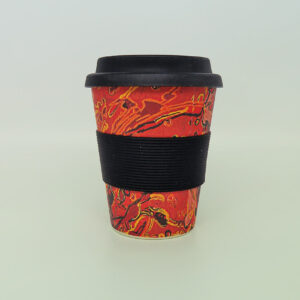 Bamboo travel mug with art design by Steven Jupurrula Nelson