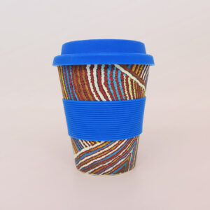 Bamboo travel mug with art design by Rama Kaltu Kaltu Sampson
