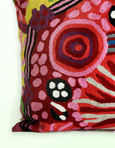 Detail of Better World Arts Wool cushion 30cm. Design by Damien and Nyinkalya Marks