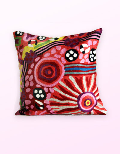 Better World Arts Wool cushion 30cm. Design by Damien and Nyinkalya Marks