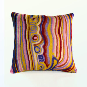 Better World Arts Wool cushion 30cm. Design by Mary Anne Nampijinpa Michaels