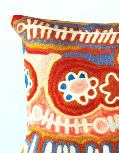 Detail of Better World Arts Wool cushion 30cm. Design by Murdie Nampijinpa Morris