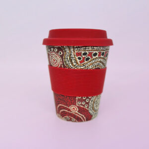 Bamboo travel mug with art design by Nami Kuluyuru