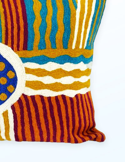 Detail of Better World Arts Wool cushion 40cm. Design by Sarah Lane