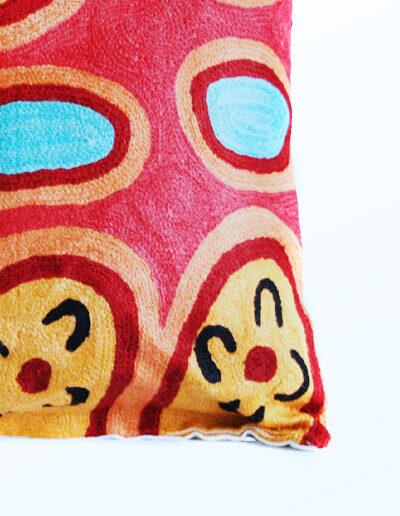 Detail of Better World Arts Wool cushion 40cm. Design by Yaritji Heffernan