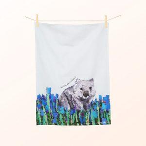 Wombat tea towel