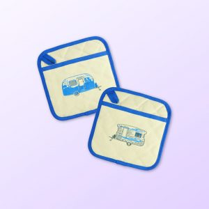 Blue caravan pot holders