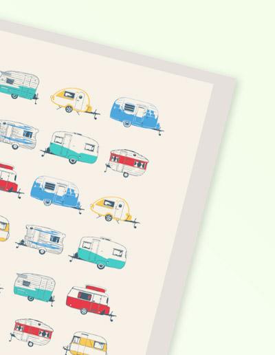 Coloured Caravans greeting card