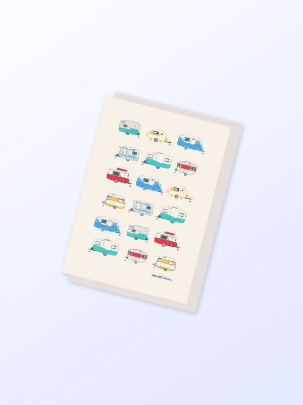 Coloured Caravans greeting card