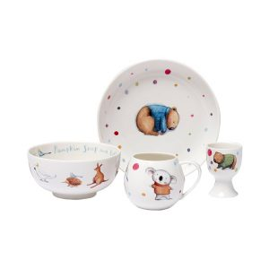 Barney Gumnut dining set with plate, bowl, mug & egg cup