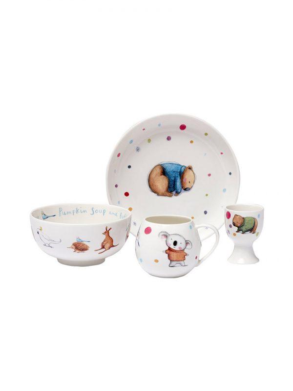 Barney Gumnut dining set with plate, bowl, mug & egg cup