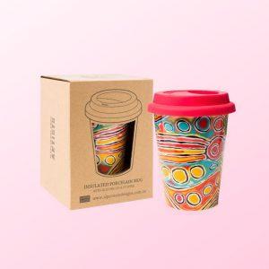 Judy Watson travel coffee mug and gift box