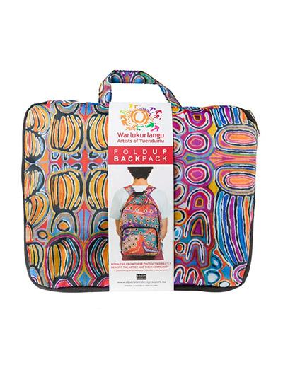 Judy Watson design fold up back Pack shown folded