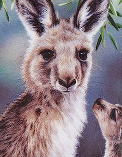 Kangaroo design mug close up