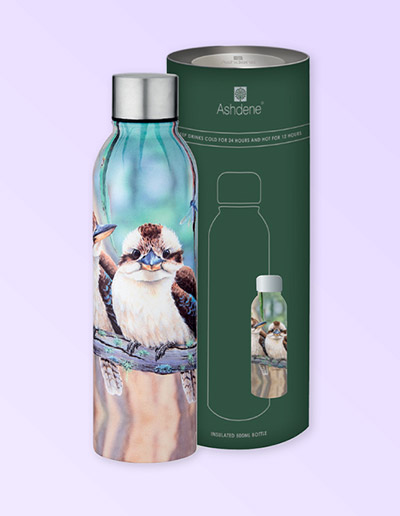 Kookaburra design stainless steel drink bottle and gift box