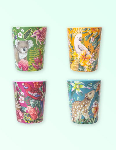 Exotic Paradiso design cup set of 4