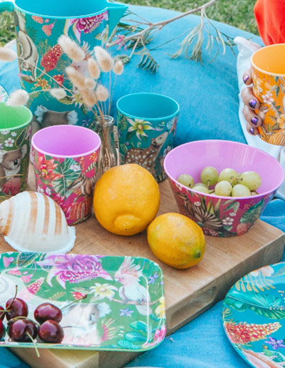 Exotic Paradiso design cup set of 4 in picnic scene