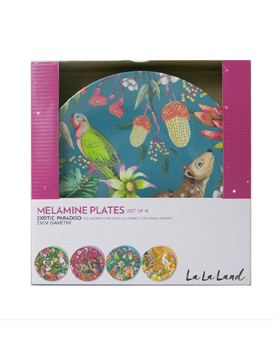 Exotic Paradiso design plate set of 4 with gift box