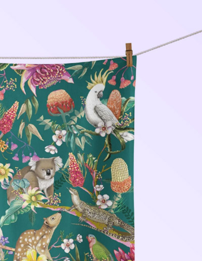 Exotic Paradiso design tea towel
