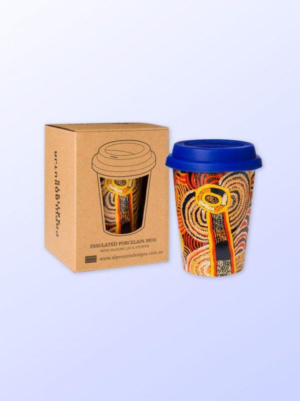 Nora Davidson design travel coffee mug and gift box