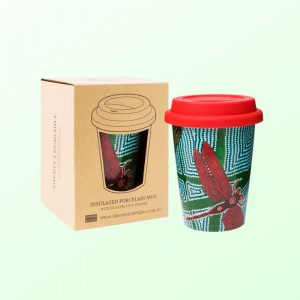 Sheryl Burchill design travel coffee mug and gift box