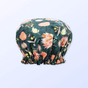 Khaki Aussie Flora design shower cap