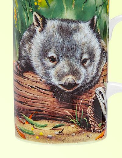 Wombat and lizard China mug