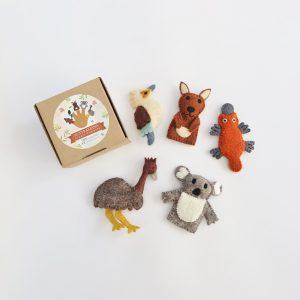 Australian Animal felt finger puppets set of 5