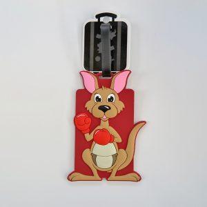 Kangaroo character rubber luggage tag