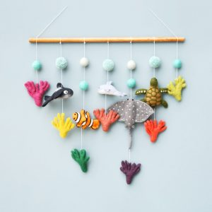 Nursery cot mobile made with felt -Coral Reef